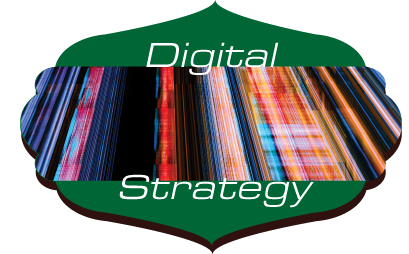 A shield shape showing words Digital Strategy on colorful lines.