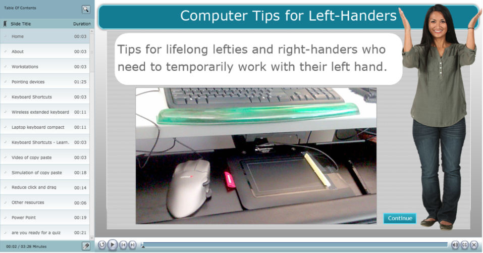 Screenshot of the eLearning course called Computer Tips for Left-Handers